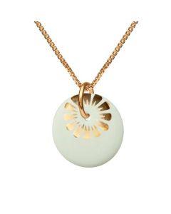Scherning Bloom Pistacchio Gold Forgyldt Sølv Halskæde med Porcelæn