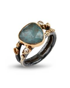 By Birdie Gili Sea Aquamarine Sterling Sølv Ring med Akvamarin og Diamanter 0,20 Carat