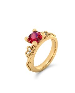 Brazilian Flower 18 Karat Guld Ring med Rubin og Brillanter 0,05 Carat TW/VVS