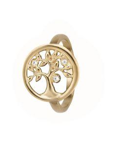 Tree Of Life Forgyldt Sølv Ring fra Christina Watches med Topaser