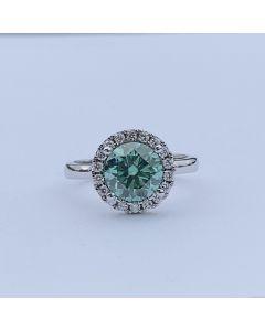 14 Karat Hvidguld Ring fra Henrik Ørsnes Design med Grøn Moissanite og Diamanter 0,27 Carat W/SI
