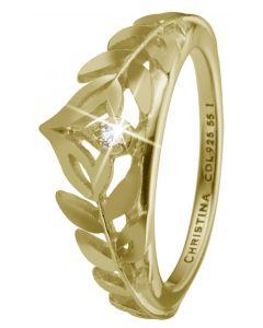 Princess Leaves Forgyldt Sølv Ring fra Christina Watches med Topaz