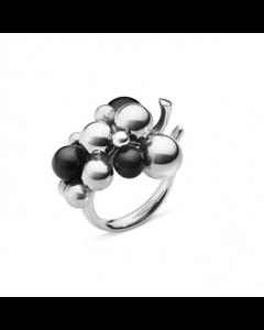 Georg Jensen Moonlight Grapes Str. 57 Ring i Oxideret Sølv med Sort Onyx