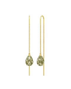 Julie Sandlau Eve Droplet Øreringe i Forgyldt Sølv med Olivenfarvede Krystaller