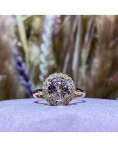 Henrik Ørsnes Design 14 Karat Guld Ring med Pink Morganit og Diamanter 0,27 Carat W/SI