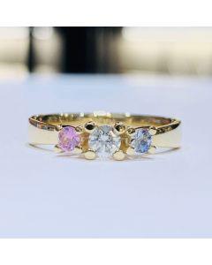 Nuran New Copenhagen 14 Karat Guld Ring med Blå Og Lyserød Safir og Diamant 0,16 Carat W/SI