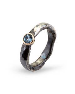 By Birdie Heritage Stone Sterling Sølv Ring med 14 Karat Guld Og Aquamarin