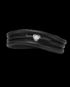 Christina Watches Tyndt Kræftens Bekæmpelse Armbånd i Læder med Sølvcharm Og Laboratorieskabt Diamant