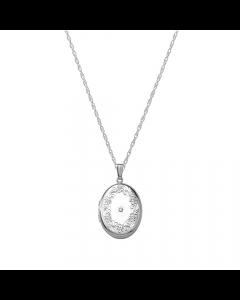 Nordahl Andersen Medaljon Sterling Sølv Halskæde med Diamant 0,02 Carat
