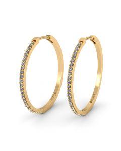 Henrik Ørsnes Design Creol 14 Karat Guld Øreringe med Diamanter 0,26 Carat W/SI