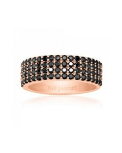 S.J Corte Quatro rosaforgyldt ring m. sorte zirkonia sten