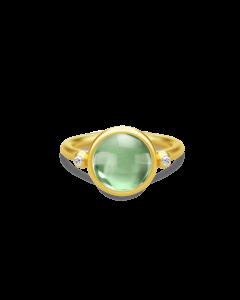 Julie Sandlau Forgyldt prime ring med grøn krystal