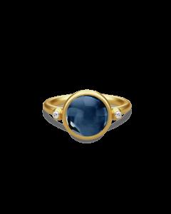 Julie Sandlau Prime ring forgyldt m. Safir blå krystal