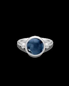 Julie Sandlau Sølv Prime ring med safir blå krystal