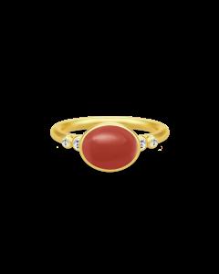 Julie Sandlau forgyldt ring m. rød krystal