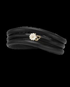 Christina Watches Kræftens Bekæmpelse Læder Armbånd med Forgyldt Sølvcharm Og Laboratorieskabt Diamant