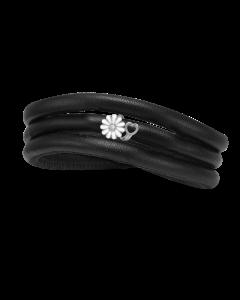 Kræftens Bekæmpelse Læder Armbånd fra Christina Watches med Sølvcharm Og Laboratorieskabt Diamant