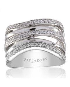S.J Sølv Verona ring med hvide zirkoner