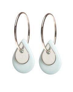 Scherning Duo Teardrop Sterling Sølv Øreringe med Porcelæn