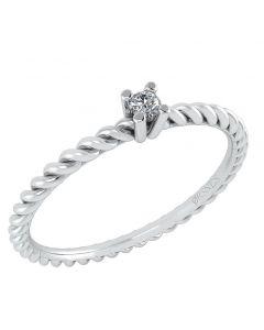 14 Karat Hvidguld Ring med Diamant DMN0345WG