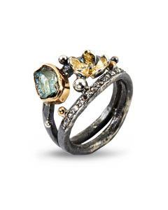 Dubeca Aqua Flower Sterling Sølv Ring fra By Birdie med 14/18 Karat Guld, Aquamarin og Brillant 0,15 Carat